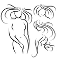 Elegant woman silhouette and hairstyles vector image vector image