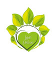 emblem of heart shape with leaves around vector image vector image