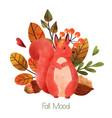 fall mood woodland squirrels hand drawn vector image