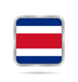 flag of costa rica metallic gray square button vector image vector image