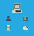 flat icon computer set of processor computing vector image vector image
