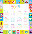 Frame with toys 2017 calandar for kids vector image vector image