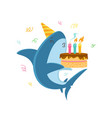 funny shark in festive hat blowing candles on vector image