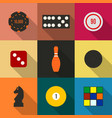 game icons in a flat style with a long diagonal vector image