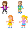 girl cartoon collection set vector image vector image