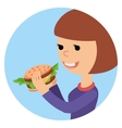 Girl eating sandwich on theme vector image