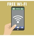 Hand holding smart phone wi-fi icon on the screen vector image