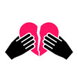 hands with heart icon two-tone silhouette vector image vector image