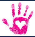 Heart in hand print people support vector | Price: 1 Credit (USD $1)