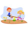 Kids cartoon riding on seesaw vector image