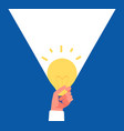 light idea hand holding lightbulb finding vector image