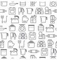 line style icons seamless pattern kitchen vector image