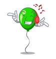 listening music green ballon with cartoon ribbons vector image