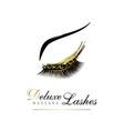 luxury eyelashe glamour logo emblem for makeup vector image vector image