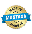 made in montana gold badge with blue ribbon vector image vector image