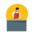 man sells meat in working apron cuts meat knife vector image vector image