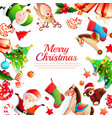 merry christmas cartoon frame vector image vector image