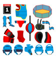 mma icons set mma accessories round vector image vector image