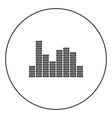 music equalizer black icon outline in circle image vector image