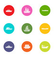 nave icons set flat style vector image vector image