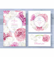 peony invitations set vector image