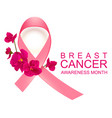 pink ribbon symbol breast cancer awareness month vector image