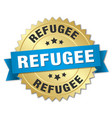 refugee round isolated gold badge vector image vector image