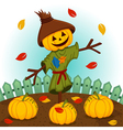 scarecrow with a pumpkin head vector image