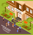 school building entrance isometric poster vector image vector image