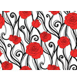 seamless texture with roses and vines on a white vector image