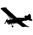 single engine stunt plane silhouette in black vector image vector image
