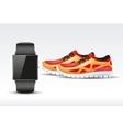 Sport digital smart watch and sneakers vector image