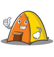 thumbs up tent character cartoon style vector image
