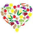 veggies heart vector image