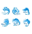 Water waves and splashes icons vector image