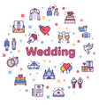 wedding color linear icons set love vector image vector image