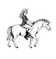 woman ride horse engraving vector image vector image