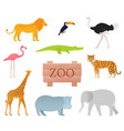 zoo animals animal icon set with wooden board vector image