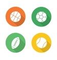 Sport balls flat design icons set vector image