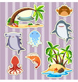 sticker design island and fish vector image