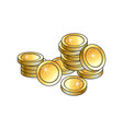 pile heap of shiny gold coins money symbol vector image