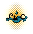 Black oil drop and spill icon comics style vector image