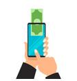 business hands sending money wireless mobile vector image vector image