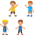 cartoon boys collection set waving hand vector image vector image