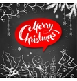Chalk drawn Christmas with lettering vector image vector image