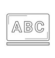 chalkboard with abc letters line icon vector image vector image