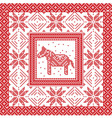 Christmas pattern with horse and snowflakes vector image vector image