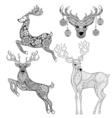 christmas reindeer set in patterned style vector image