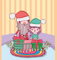 christmas santa claus with helper in the house vector image