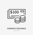 currency exchange flat line icon thin sign vector image vector image